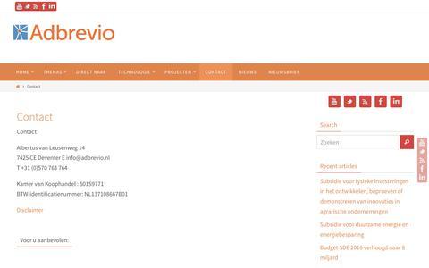 Screenshot of Contact Page adbrevio.nl - Contact - Adbrevio - captured Feb. 5, 2016
