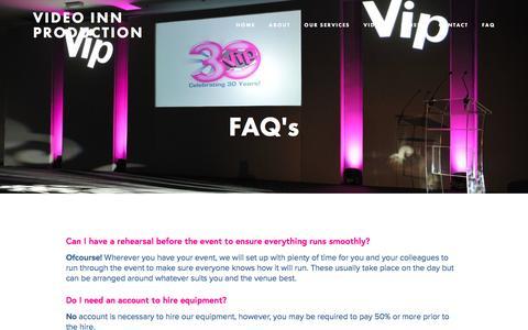 Screenshot of FAQ Page videoinn.co.uk - FAQ — Video Inn Production - captured Dec. 11, 2016