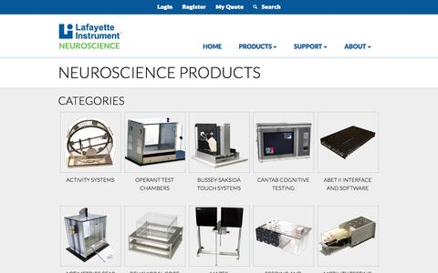 Screenshot of Products Page lafayetteneuroscience.com - Categories and Products | Neuroscience by Lafayette Instrument Company - captured Jan. 27, 2017