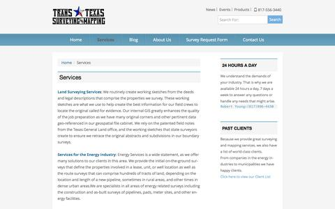 Screenshot of Services Page transtexassurveying.com - Services   Trans Texas Surveying - captured Oct. 7, 2014