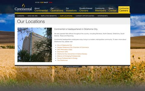 Screenshot of Locations Page clr.com - Our Locations | Continental Resources - captured Nov. 20, 2015