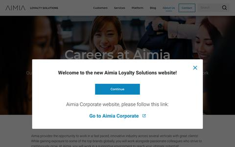 Screenshot of Jobs Page aimia.com - Careers at Aimia Loyalty Solutions - captured July 13, 2019