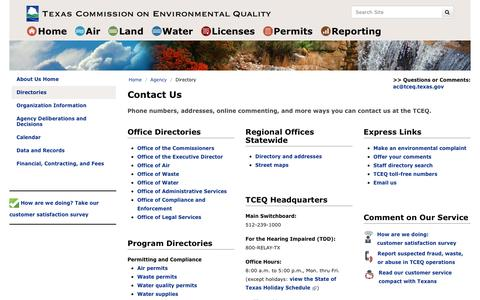 Screenshot of Contact Page texas.gov - Contact Us - TCEQ - www.tceq.texas.gov - captured Oct. 25, 2018