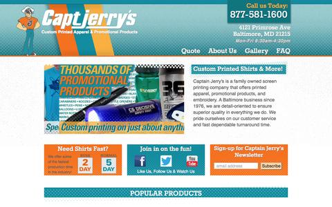 Screenshot of Home Page captjerrys.com - Captain Jerry's Custom Screen Printing, Embroidery & Promotional Products - captured Oct. 1, 2014