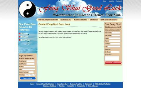 Screenshot of Contact Page fengshuigoodluck.com - Contact Us for Feng Shui Services - Feng Shui Good Luck! - captured Sept. 30, 2014
