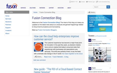 Screenshot of Blog fusionconnect.com - Fusion Connection Blog | Fusion (FSNN) - captured July 4, 2016