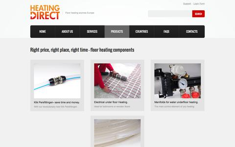 Screenshot of Products Page heating-direct.eu - Underfloor heating Products - captured July 13, 2016