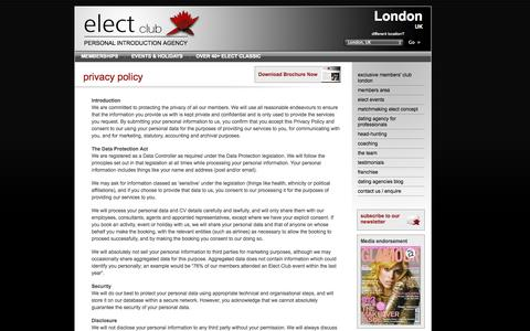 Screenshot of Privacy Page electclub.co.uk - Privacy policy - London Matchmaking Agency | Elect Club - captured Oct. 2, 2014