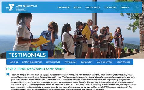 Screenshot of Testimonials Page campgreenville.org - Testimonials - YMCA Camp Greenville - captured Dec. 16, 2018