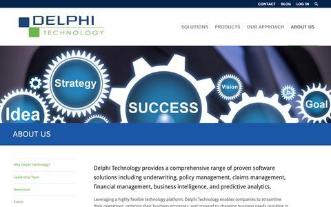 Screenshot of About Page delphi-tech.com - About Us | Delphi Technology - captured Nov. 13, 2018