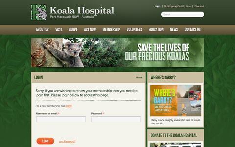 Screenshot of Login Page koalahospital.org.au - Login - Koala Hospital - captured Oct. 6, 2014