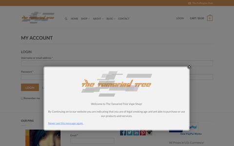 Screenshot of Login Page thetamarindtree.co - My Account - The Tamarind Tree - captured Oct. 9, 2014