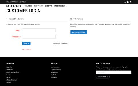 Screenshot of Login Page braven.com - Customer Login - captured Aug. 1, 2018