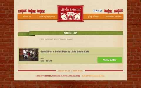 Screenshot of Signup Page littlebeanscafe.com - Sign Up | Little Beans Café - captured Sept. 30, 2014