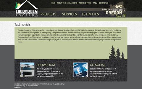 Screenshot of Testimonials Page evergreenroofing.com - Testimonials - Evergreen Roofing - captured Oct. 3, 2014