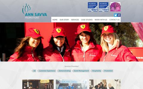 Screenshot of Case Studies Page annsavvapromotions.com - Ann Savva Promotions - captured Oct. 4, 2014