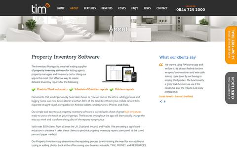 Screenshot of About Page theinventorymanager.co.uk - Property Inventory Software | Mobile Inventory Tool - captured Sept. 30, 2014