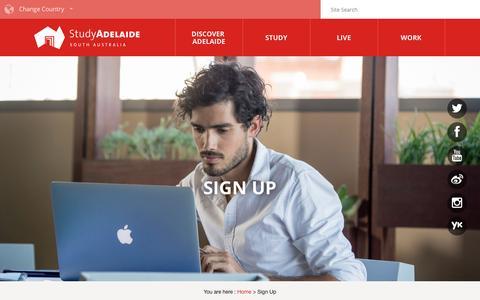 Screenshot of Signup Page studyadelaide.com - Sign Up - Study Adelaide - captured Sept. 14, 2016