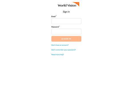 Screenshot of Login Page worldvision.org - Login   World Vision - captured Jan. 19, 2020