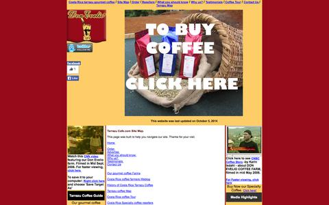 Screenshot of Site Map Page tarrazucafe.com - Site Map -- Find here links in the best Costa Rica coffee online resource site We have built this site in our   valley of Tarrazu. - captured Oct. 5, 2014