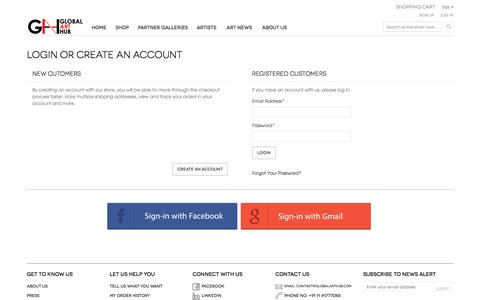 Screenshot of Login Page globalarthub.com - Customer Login - captured May 18, 2017