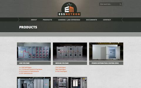 Screenshot of Products Page essmetron.com - Low Voltage Switchboard, Medium Voltage Switchgear, Custom Controls - captured March 5, 2016