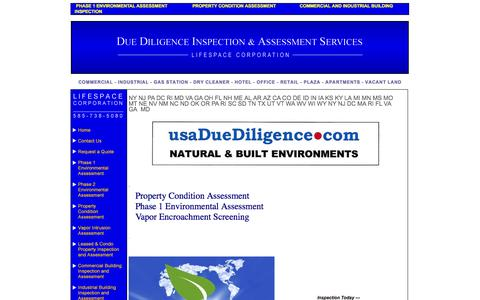 Screenshot of Home Page usaduediligence.com - #1 Phase 1 Environmental Assessment & Property Condition Assessment - captured Oct. 6, 2014