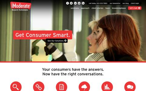 Screenshot of Home Page imoderate.com - iModerate – Get Consumer Smart. - captured Sept. 19, 2014