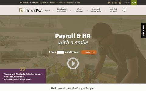 Screenshot of Home Page primepay.com - PrimePay - Online Payroll and HR Services - captured Sept. 26, 2015