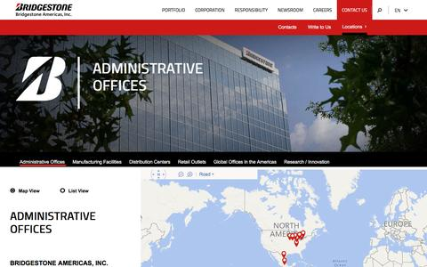 Screenshot of Locations Page bridgestoneamericas.com - Administrative Offices - captured Aug. 27, 2016