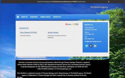 Screenshot of Team Page thebarthelagency.com - Associates : The Barthel Agency - captured Sept. 20, 2018