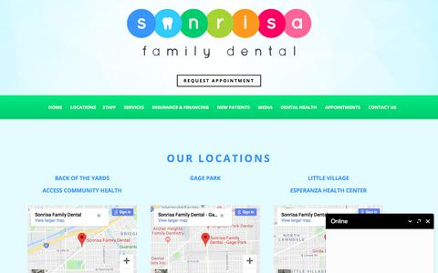 Screenshot of Locations Page sonrisafamilydental.com - Little Village Dentist Locations | Contact Dentist in Gage Park | Back of the Yards Contact Dentist - captured Sept. 21, 2018