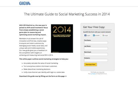 Screenshot of Landing Page gigya.com - Guide to Social Marketing in 2014 - captured April 5, 2016