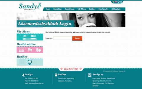 Screenshot of Login Page sandys.se - Login | Sandys - captured May 25, 2016