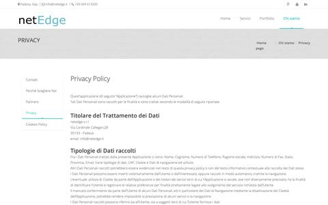 Screenshot of Privacy Page netedge.it - Privacy | NetEdge S.r.l. - Web Agency Padova - captured Dec. 20, 2018