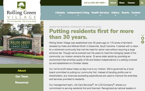 Screenshot of About Page rollinggreenvillage.com - About | Senior Living in Greenville | Rolling Green Village - captured Sept. 21, 2018