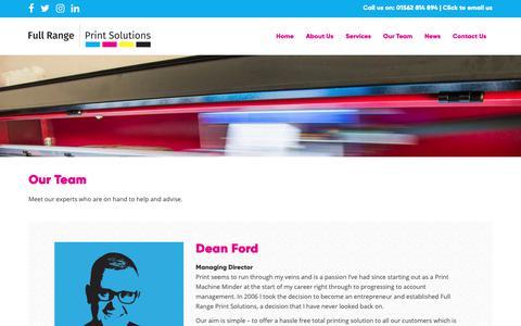 Screenshot of Team Page fullrangeprintsolutions.co.uk - Our Team - Full Range Print Solutions - captured Nov. 14, 2018