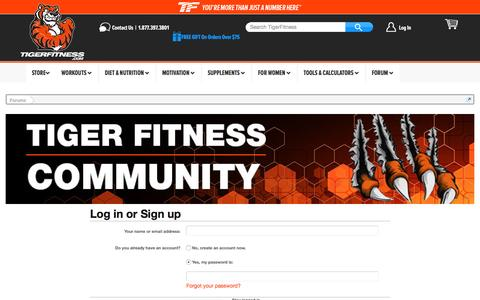 Screenshot of Login Page tigerfitness.com - Log in | Tiger Fitness Forums - Build Muscle, Lose Fat, Supplements and Workouts - captured July 28, 2016