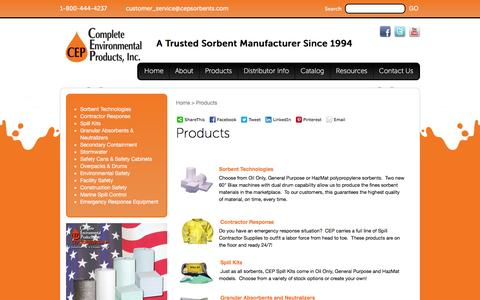 Screenshot of Products Page cepsorbents.com - Products | CEP Sorbents, Inc. - captured Jan. 30, 2016