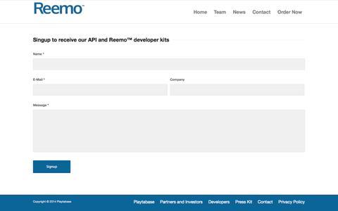 Screenshot of Developers Page getreemo.com - Reemo     Developers - captured Oct. 3, 2014