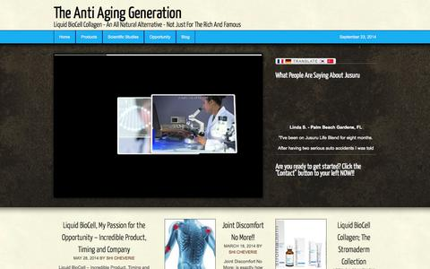 Screenshot of Home Page anti-aging-products.co - The Anti Aging Generation - Liquid BioCell Collagen - An All Natural Alternative - Not Just For The Rich And Famous - captured Sept. 24, 2014