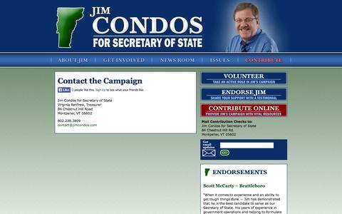 Screenshot of Contact Page jimcondos.com - Contact the Campaign | Jim Condos for VT Secretary of State - captured Oct. 6, 2014