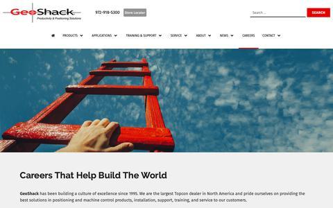 Screenshot of Jobs Page geoshack.com - Careers - GeoShack - captured June 17, 2019