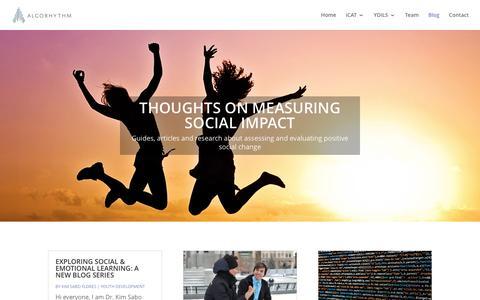 Screenshot of Blog algorhythm.io - Thoughts On Measuring Social Impact - Algorhythm Blog - captured May 29, 2017