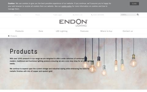Screenshot of Products Page endon.co.uk - Lighting products - A huge range including vintage and industrial-chic - captured Sept. 28, 2018