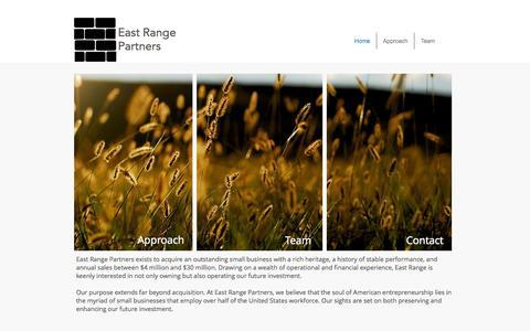 Screenshot of Home Page eastrangepartners.com - East Range Partners - captured Oct. 1, 2014