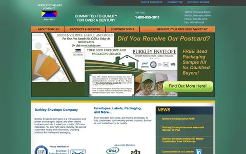 Screenshot of Home Page burkley.com - Burkley Envelope Company - captured Oct. 5, 2014