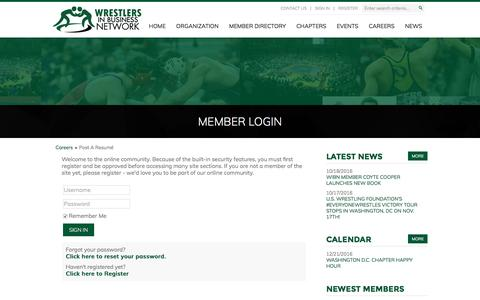 Screenshot of Login Page wrestlersinbusiness.org - Wrestlers in Business Network - captured Dec. 10, 2016