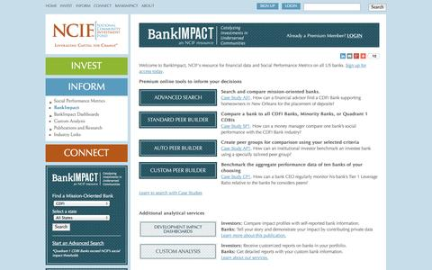 Screenshot of Signup Page ncif.org - About BankImpact | National Community Investment Fund - captured Oct. 27, 2014