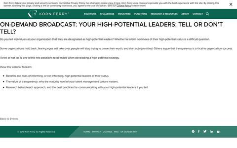 On-demand Broadcast: Your High-potential Leaders: Tell or Don't Tell?